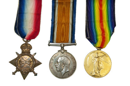 1914 Group of 3, Victory Medal to Pte G Charles