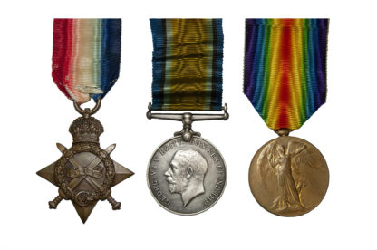 1914 Group of 3, Victory Medal to Pte J Houghton