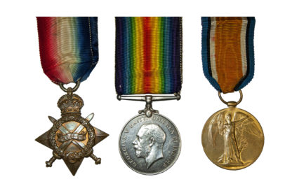 1914 Group of 3, Victory Medal to Cpl W Palmer