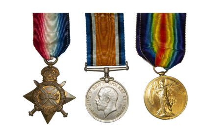 1914 Group of 3, Victory Medal to Pte T Philpot