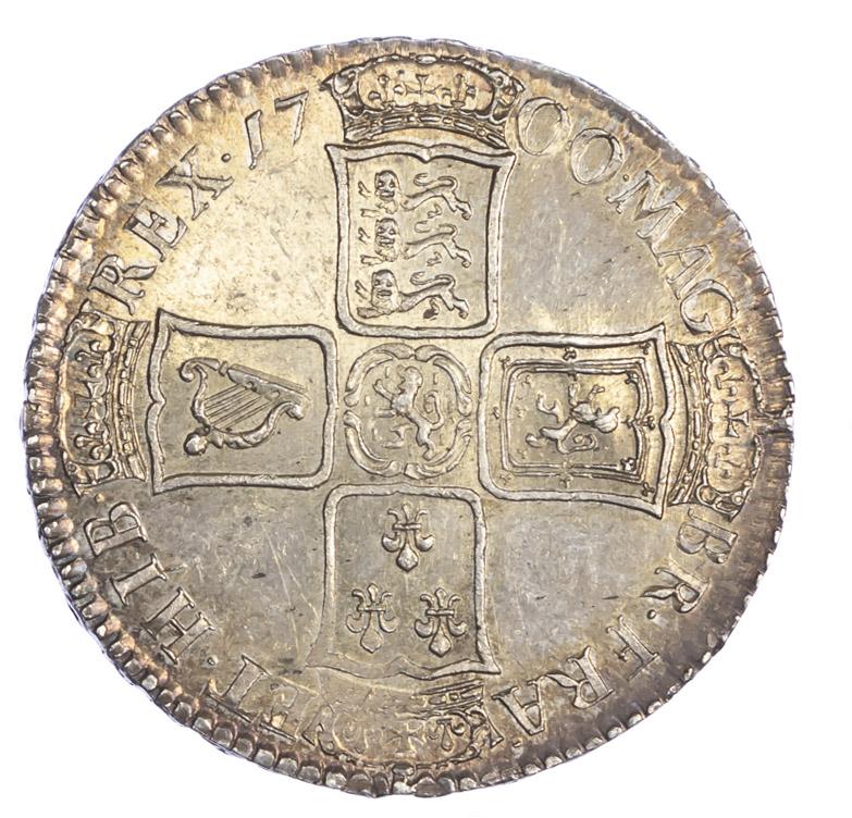 1700 William III Halfcrown S3494 As Struck Prooflike