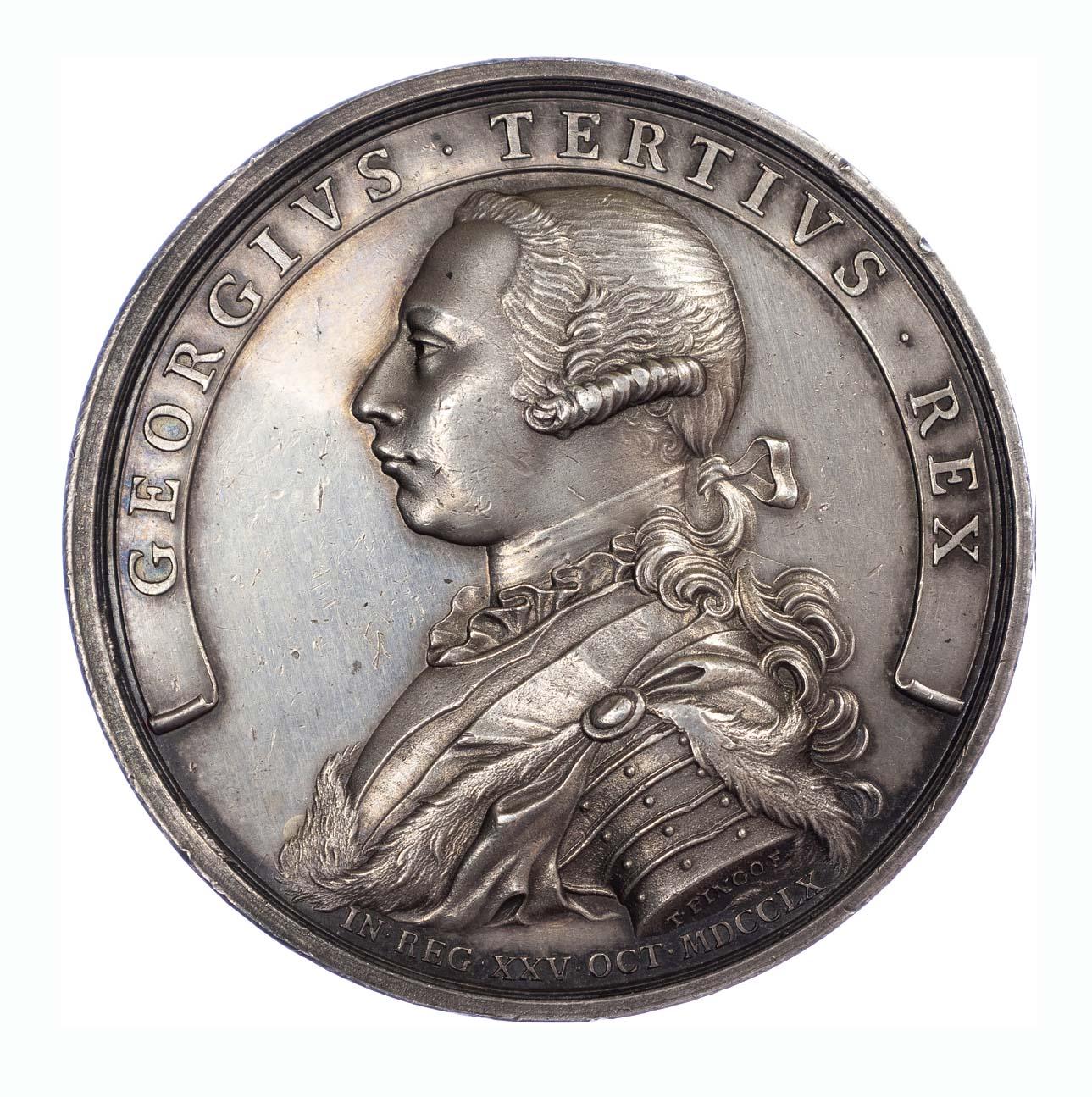 George III, accession AR medal, 1760