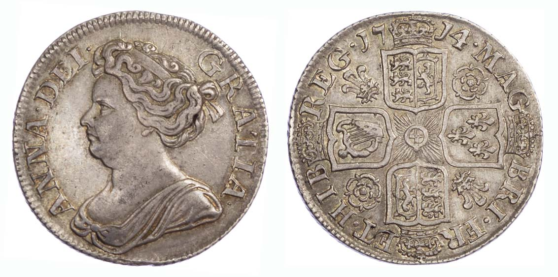 1714 Anne Roses and Plumes Shilling