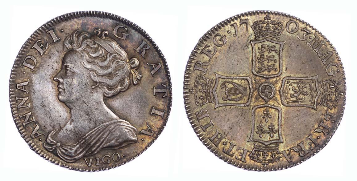 1703 Vigo Queen Anne Shilling About EF