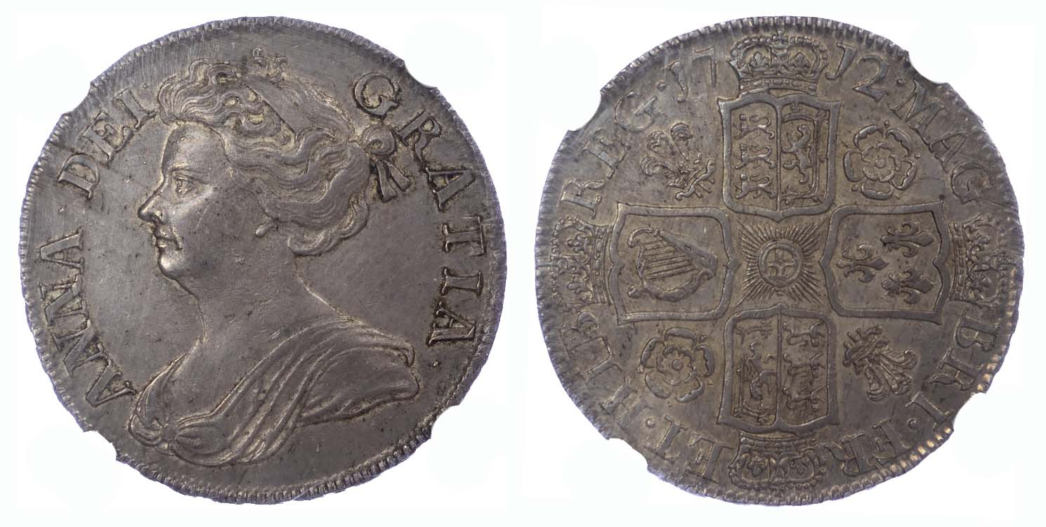 1712 Queen Anne Roses and Plumes Halfcrown