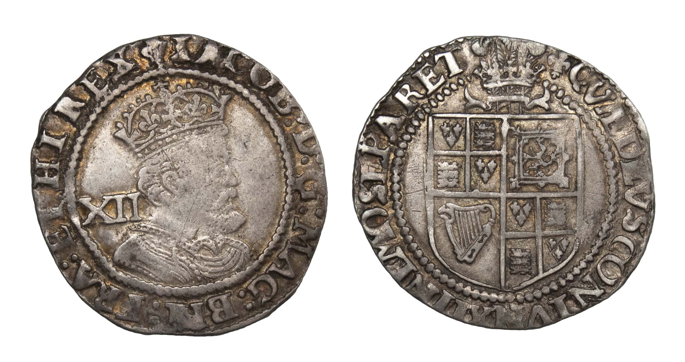 James I (1603-25) Shilling, Third Coinage, Plume above shield
