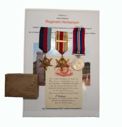 A WW2, Black Watch, Mareth Line Tunisia Campaign casualty group to Lance Sergeant R Herberson