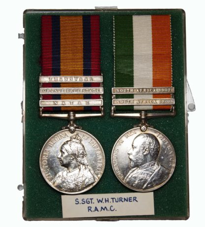 Boer War Pair to the Royal Army Medical Corps awarded to Infirmary Staff Sergeant W.H. Turner