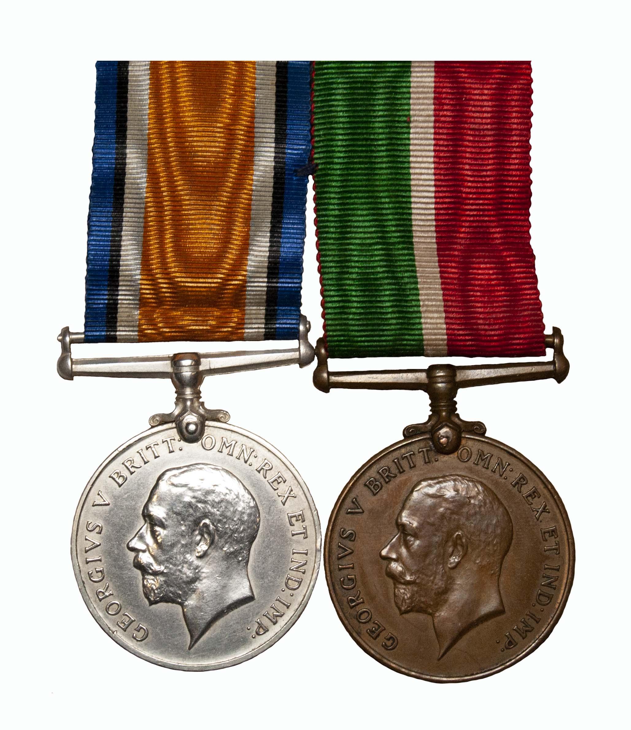 A Great War Mercantile Marine Pair to Ernest Thomas