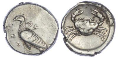 Text Box: Silver Didrachm of Akragas, c. 480-470 BC.