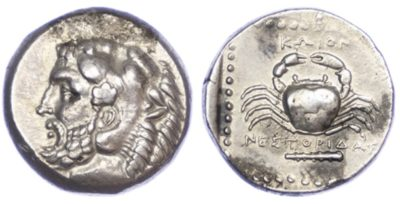 Text Box: Silver Tetradrachm of Kos, c. 350-345 BC, issued under the magistrate Nestoridas.
