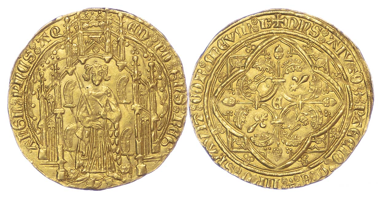 France, Anglo-Gallic, Aquitaine, Edward the Black Prince, Gold Pavillon d'or or Noble Guyennois