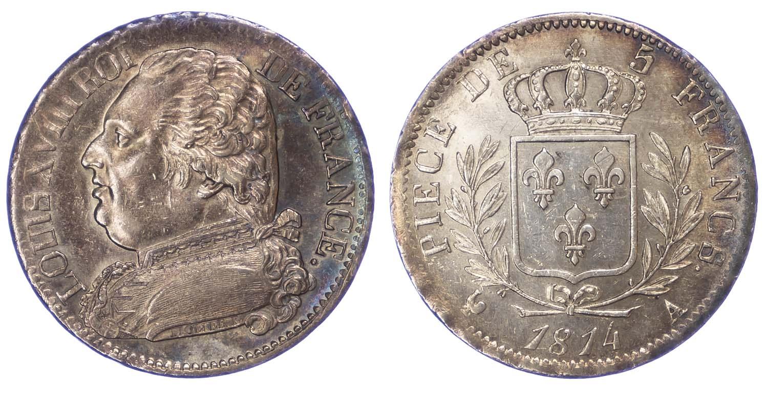 France, Louis XVIII, 1814 5 Francs