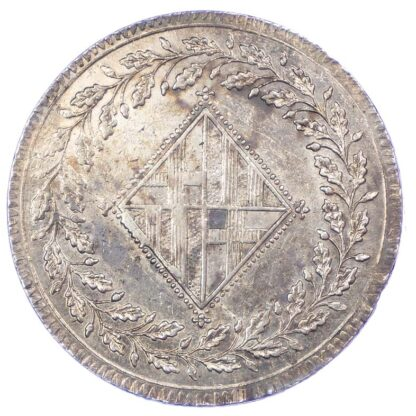 Spain, Barcelona under French occupation, silver 5 Pesetas