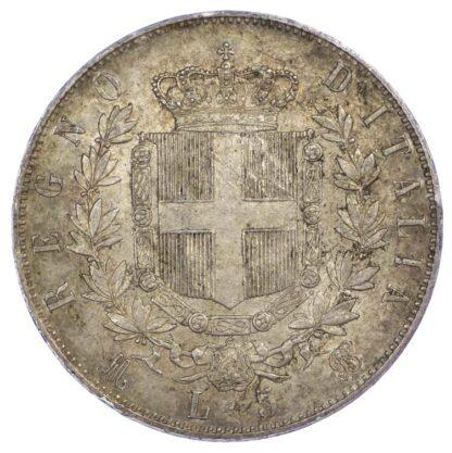 Italy, Vittorio Emanuele II, 5 Lire, 1873 Milan