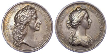 Charles II, Marriage of Charles II and Catherine of Braganza, 1662, Silver Medal