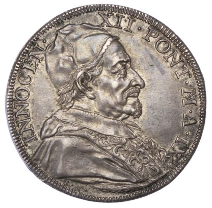 Italy, Papal States, Innocent XII, 1699 Silver Half Piastra