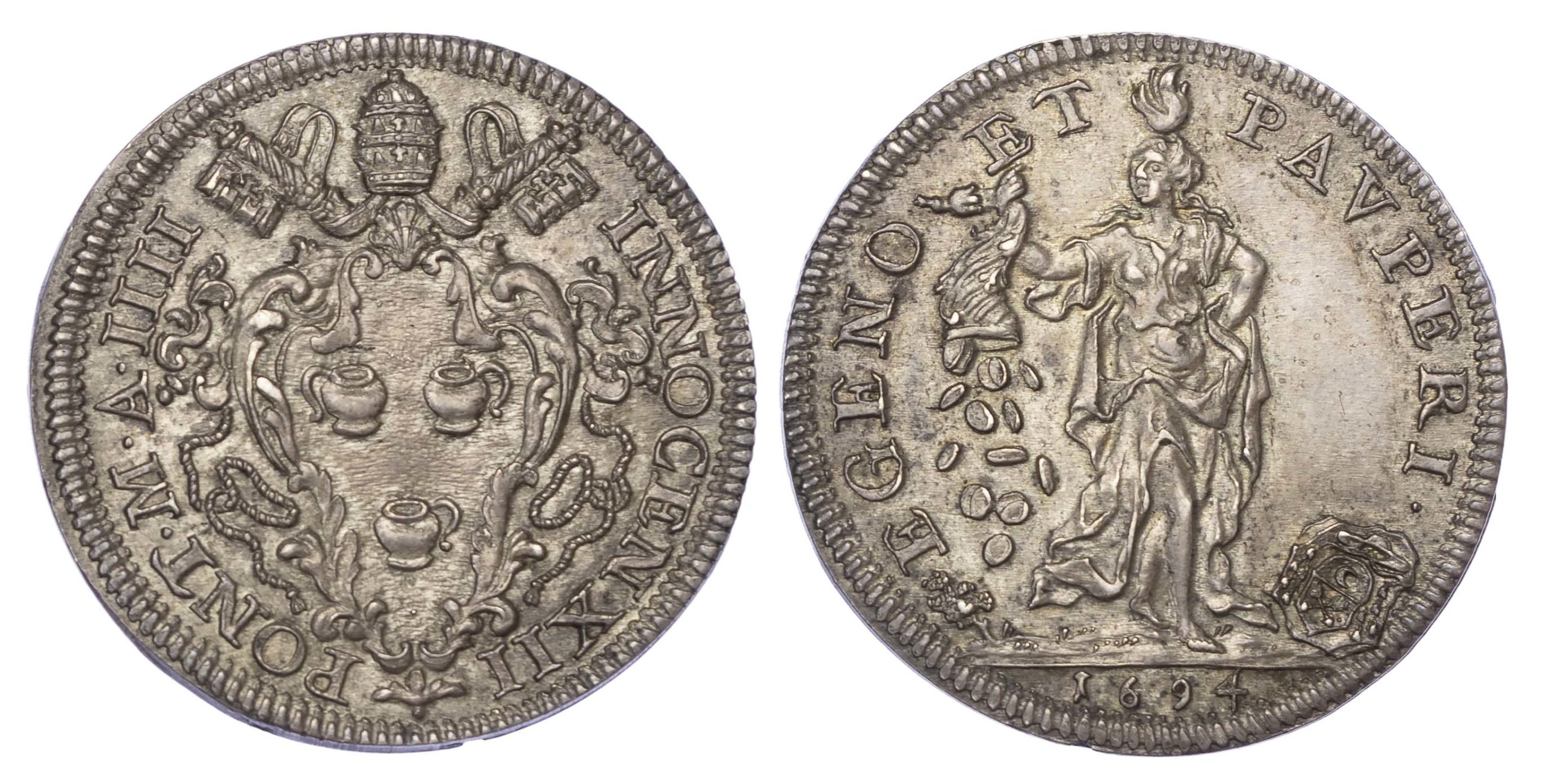 Italy, Papal States, Innocent XII, 1694 Silver Testone