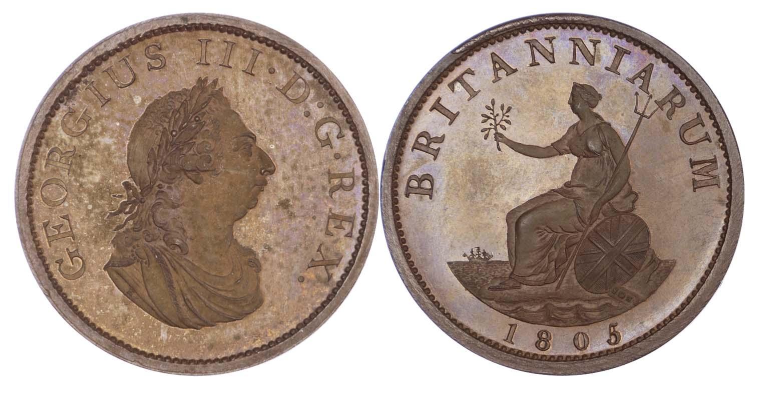 George III (1760-1820) Pattern Restrike Halfpenny, 1805 (BMC.1309)