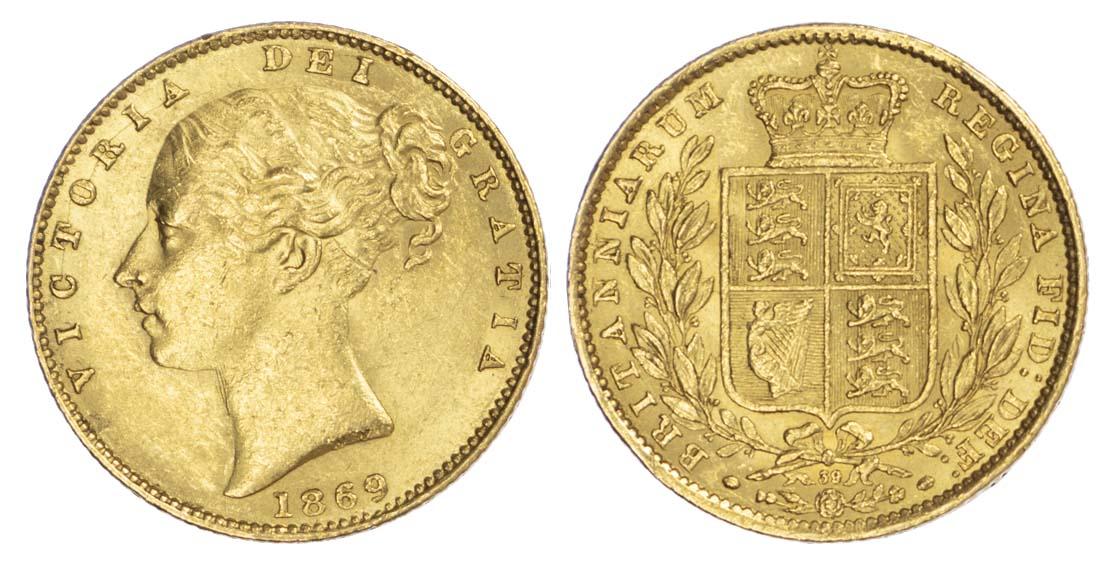 Victoria (1837-1901), 1869 Sovereign, die 39 - Ex Bentley Sale