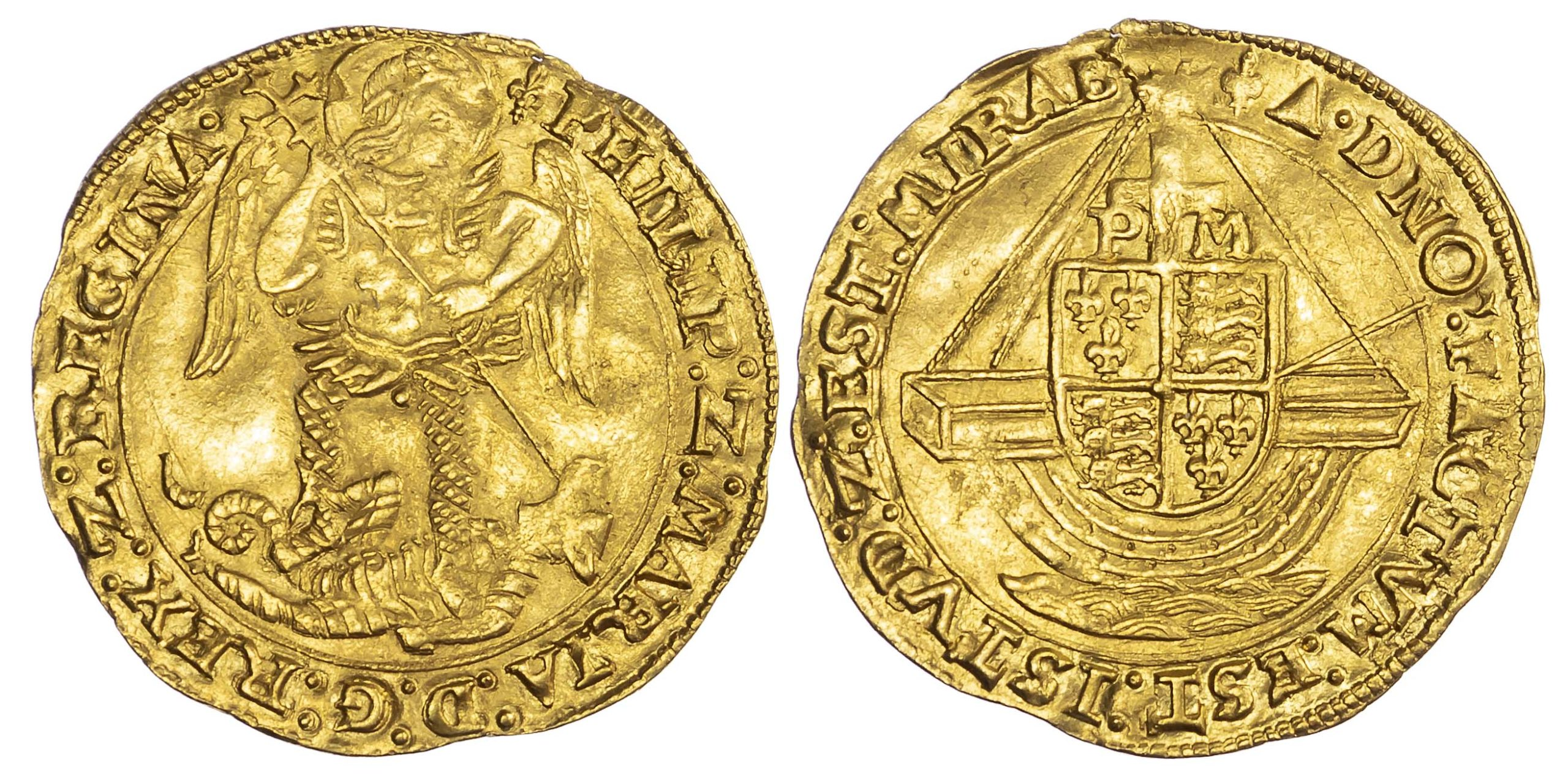 Philip and Mary (1554-58), Gold Angel, Class IV