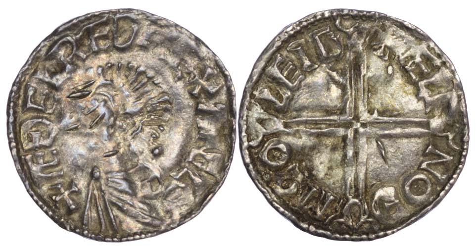 Aethelred II (978-1016), Long Cross type Penny, Chester mint