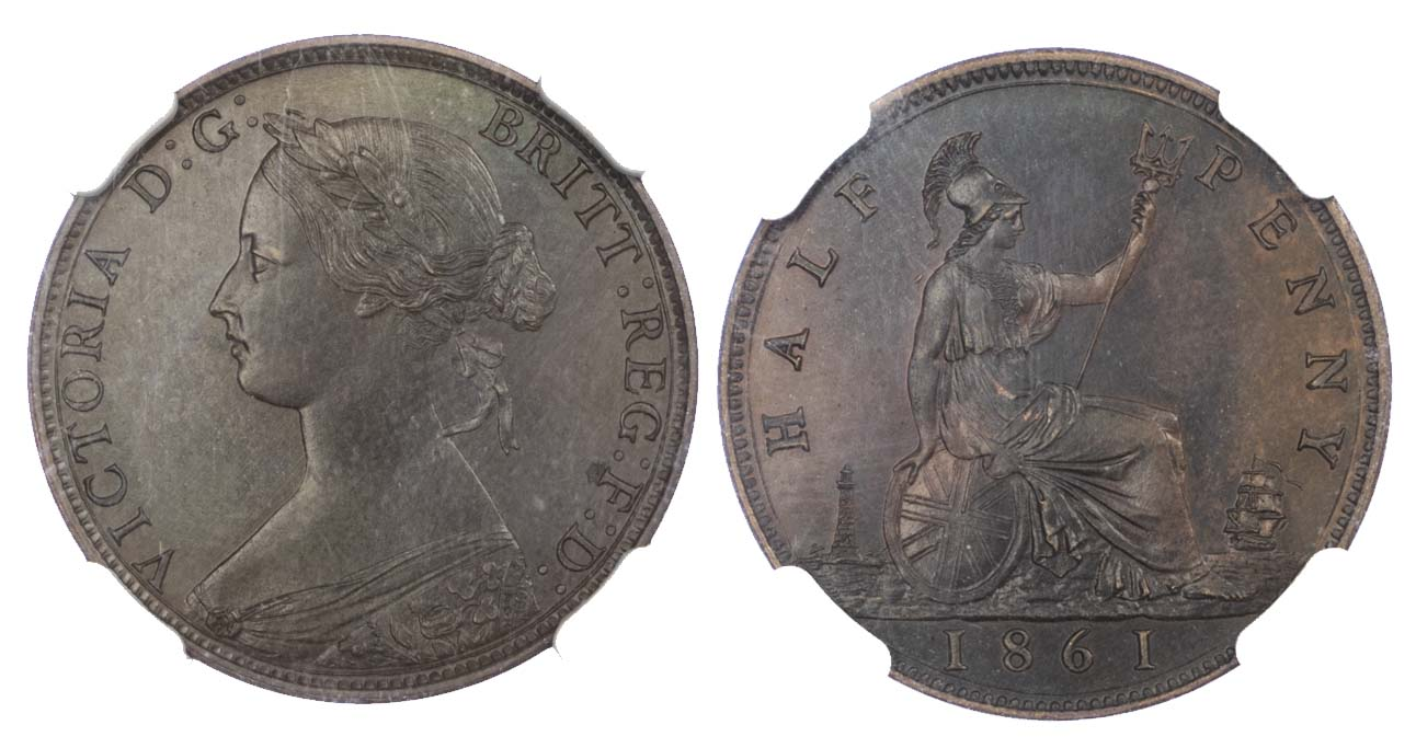 Victoria (1837-1901), 1861, Proof Halfpenny (PF 63 BN)
