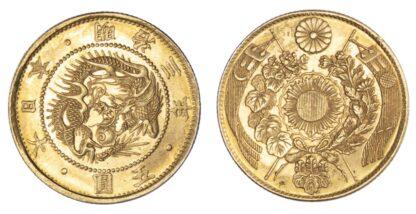 Japan, gold 5 Yen, Meiji 3
