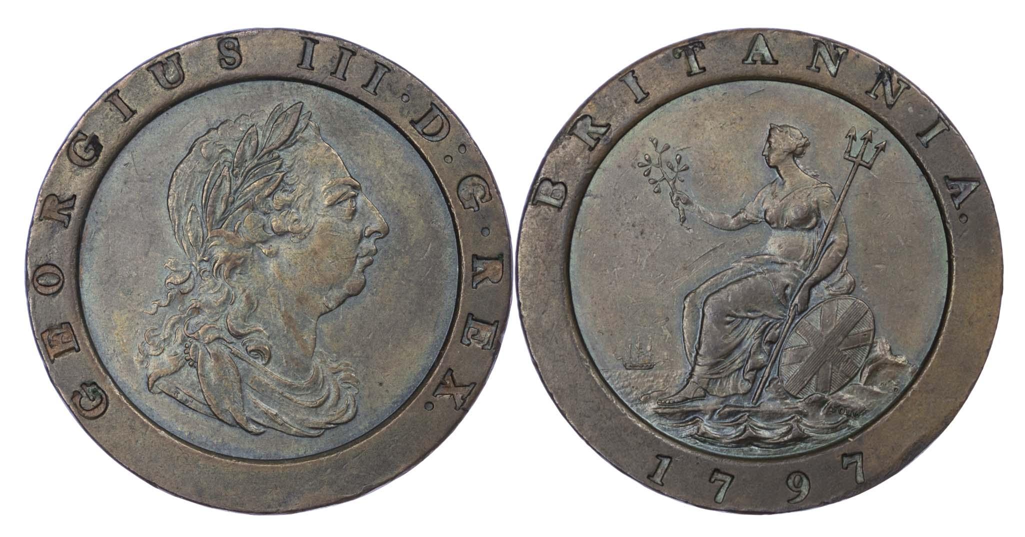 1797 George III Cartwheel Two Pence BMC 1077