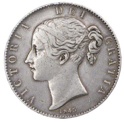 Victoria (1837-1901), Crown, 1845, Young head, Cinquefoil stops.
