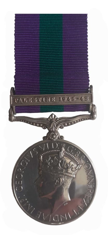General Service Medal GVIR one clasp, Palestine 1945-48 to B. Constable W.A. Campbell