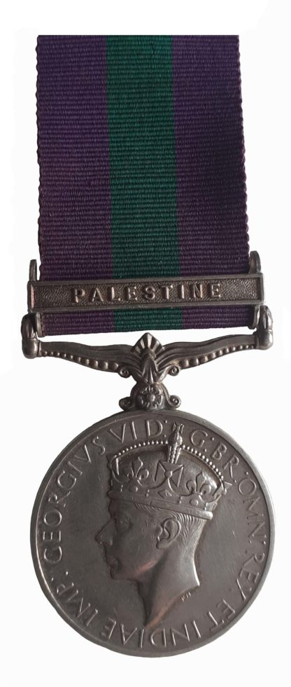 General Service Medal 1918-62, GVIR, one clasp, Palestine, to Private M. Bruce