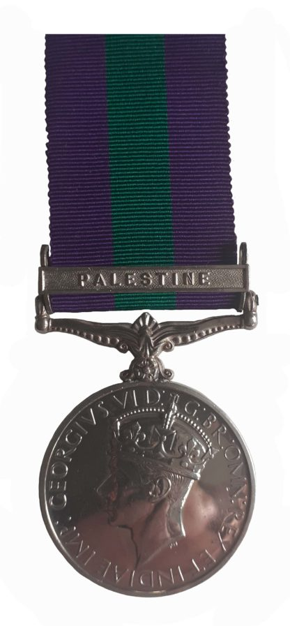 General Service Medal, 1918-62, GVIR, one clasp Palestine to Leading Aircraftsman WC Ainsworth RAF