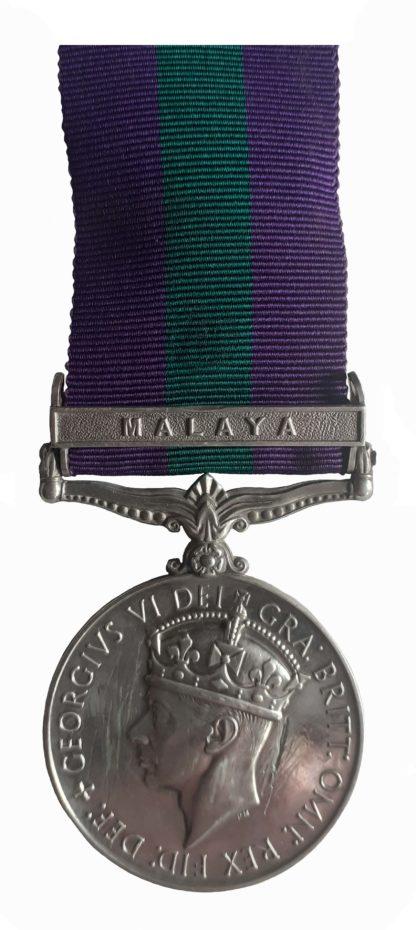 General Service Medal 1918-62, GVIR, one clasp Malaya to Rifleman Padamsing Rai