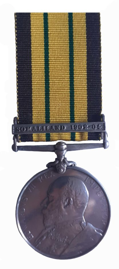 Africa General Service Medal one clasp Somaliland 1902-04 to Able Seaman JA Pearson HMS Persilis (329 to ship)