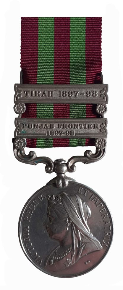 India Medal, 1895-1902, QVR, two clasps Punjab Frontier 1897-98, Tirah 1897-98 to Private A.H. Cole