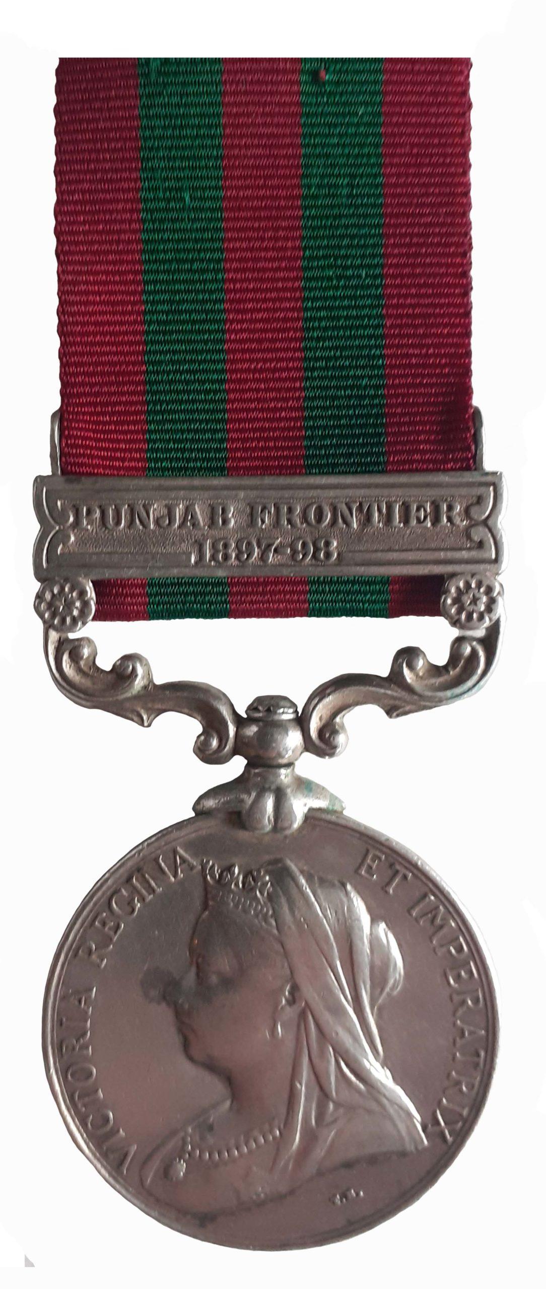 India Medal 1895-1902, QVR, one clasp Punjab Frontier 1897-98, to Rifleman Diwansing Thapa