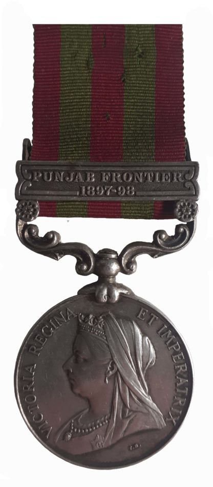 India Medal 1895-1902, QVR, one clasp, Punjab Frontier 1897-98, to Private J. Edwards