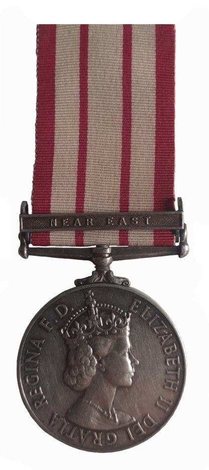 Naval General Service Medal, 1909-62, EiiR, one clasp, Near East, to Naval Airman class1, G.W. Narraway