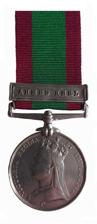 Afghanistan Medal 1878-80, one clasp Ahmed Khel, to Sepoy Noorjoo Goorun