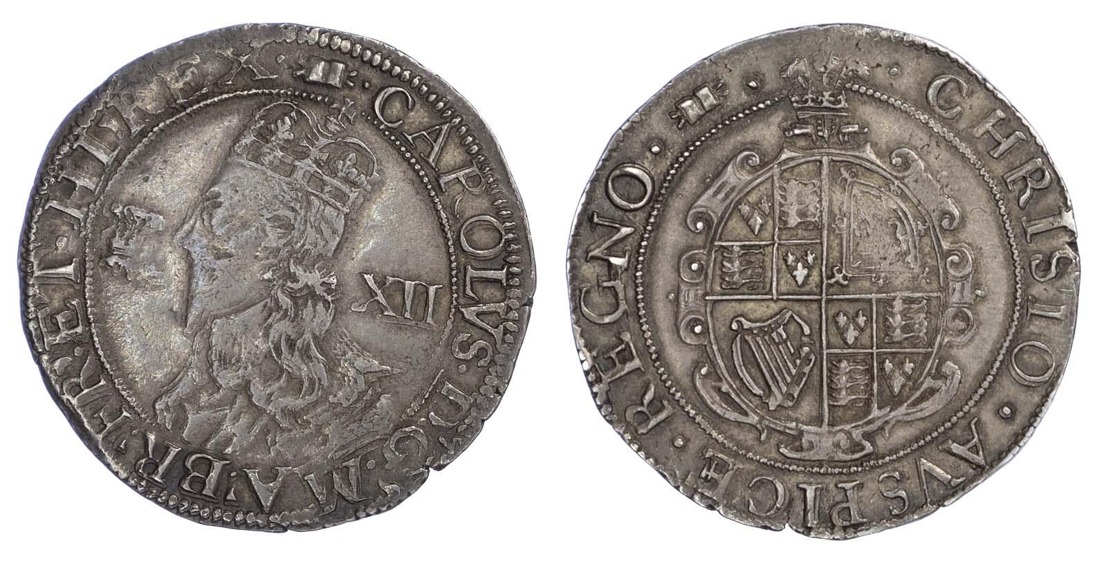 Charles I (1625-49), Shilling, Aberystwyth mint, large Plume