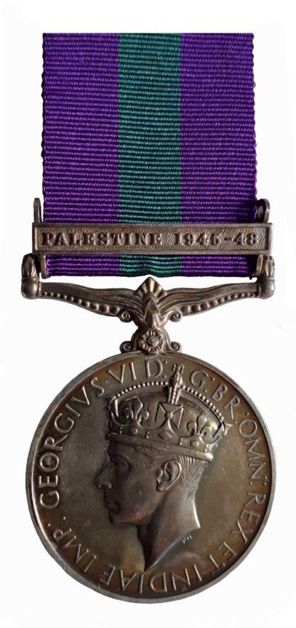 General Service Medal 1918-62, GVIR, one clasp Palestine 1945-48 to Trooper P. M. Herbert