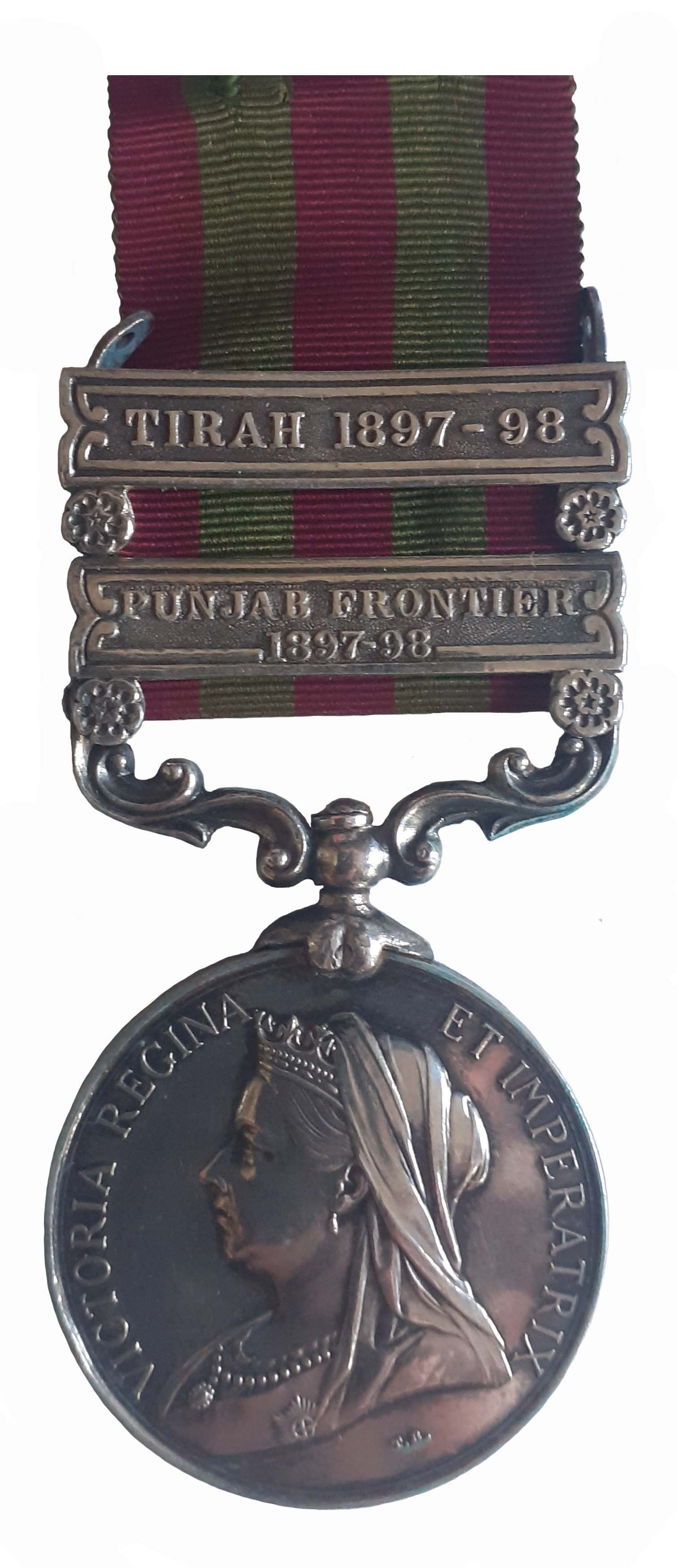 India Medal 1895-1902, QVR, two clasps, Punjab Frontier 1897-98, Tirah 1897-98, to Gunner C.E.C. Fisher