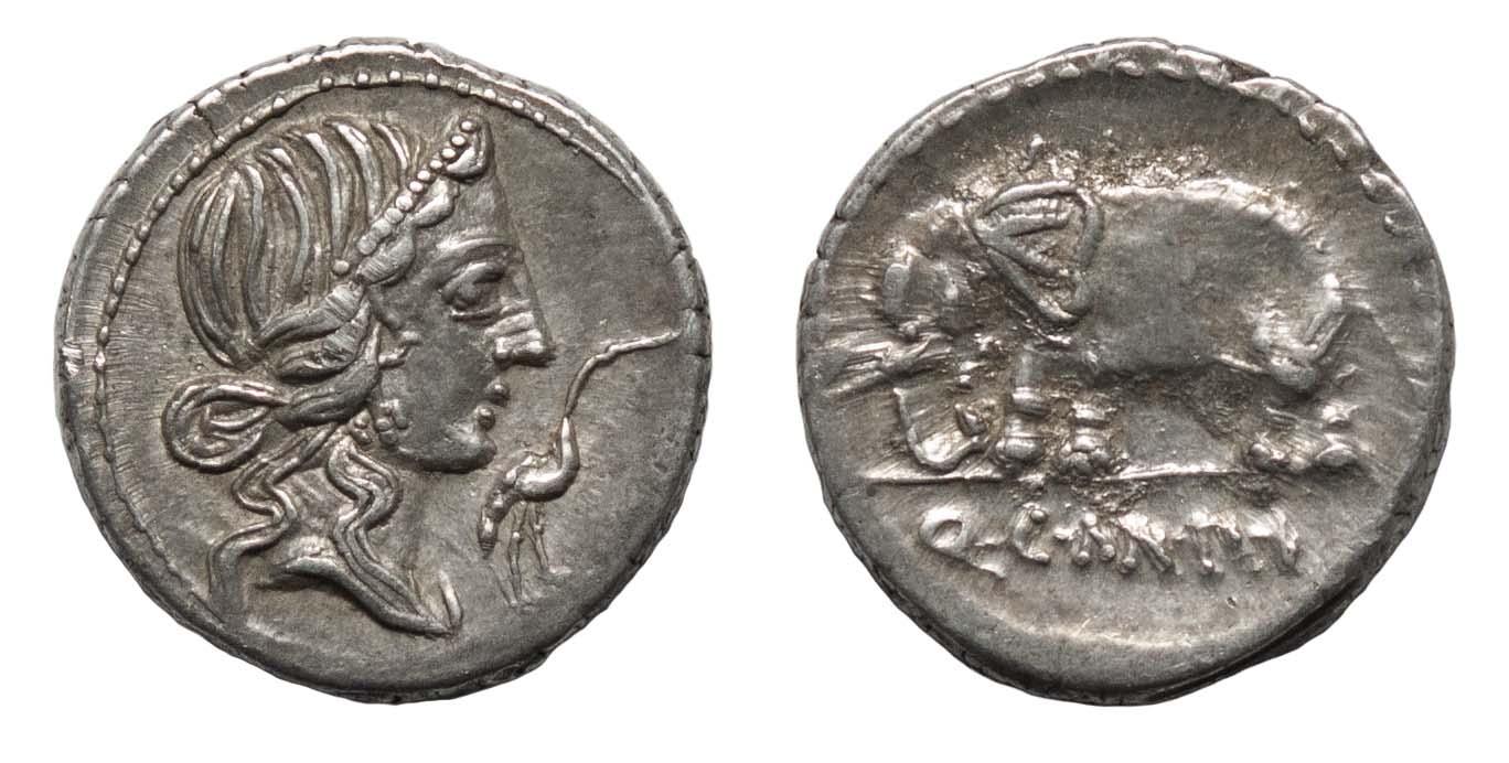 Q. Caecilius Metellus Pius, Silver Denarius