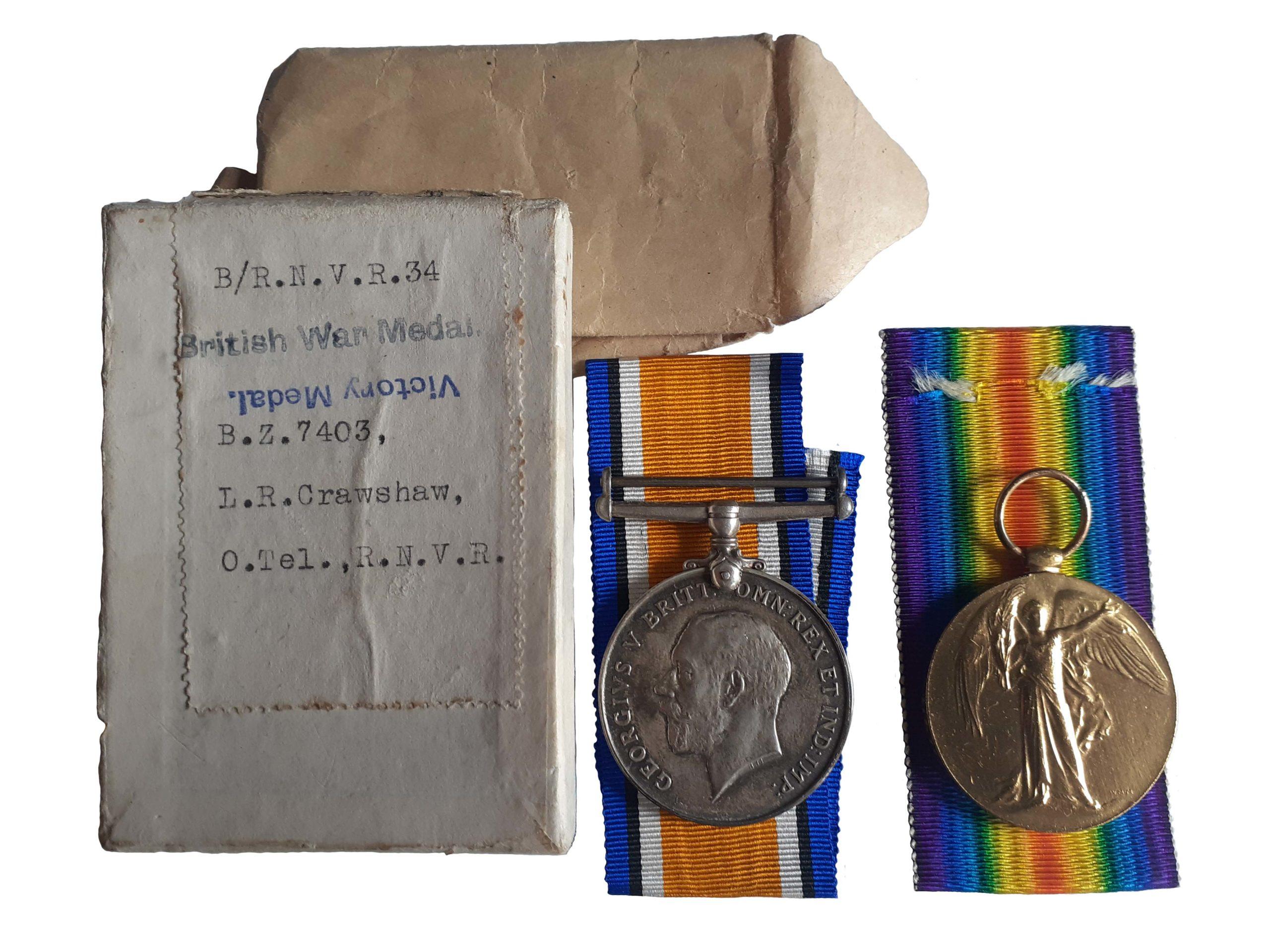 A Royal Naval Volunteer Reserve Great War Pair to Ordinary Telegraphist Leslie Raymond Crawshaw R. N.V.R.