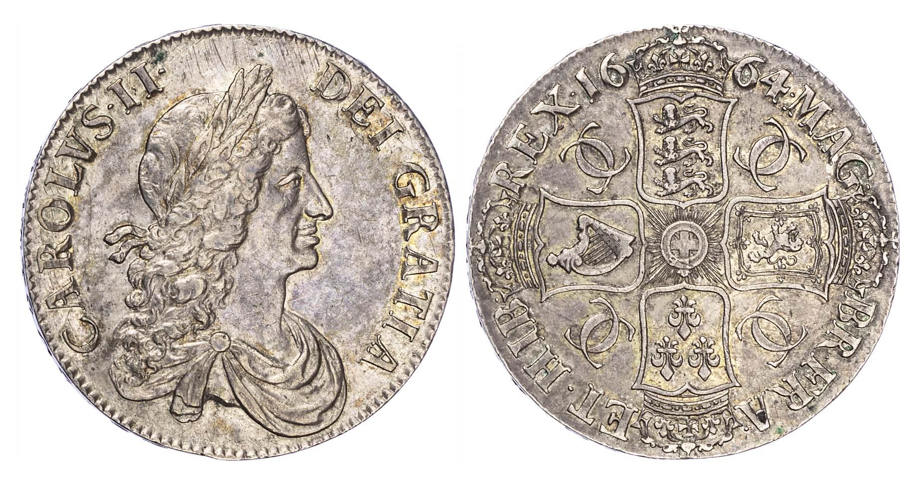 Charles II (1660-85), Crown, 1664, edge XVI