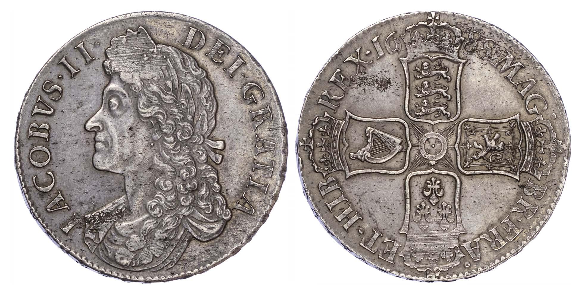 James II (1695-88), Crown, Second bust, 1688, Qvarto edge