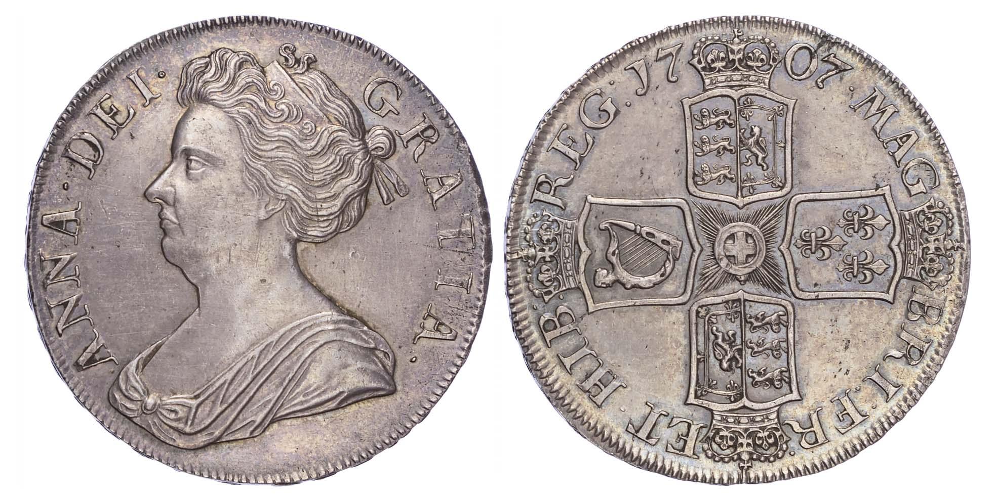 Anne (1702-14), Crown,1707, Septimo edge