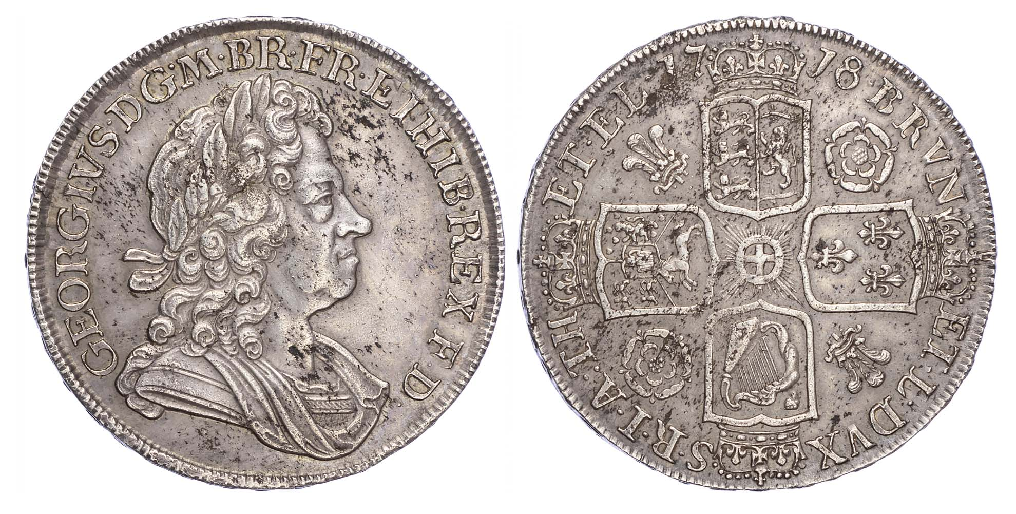 George I (1714-27), Crown, 1718/6, Roses and Plumes, Qvinto edge