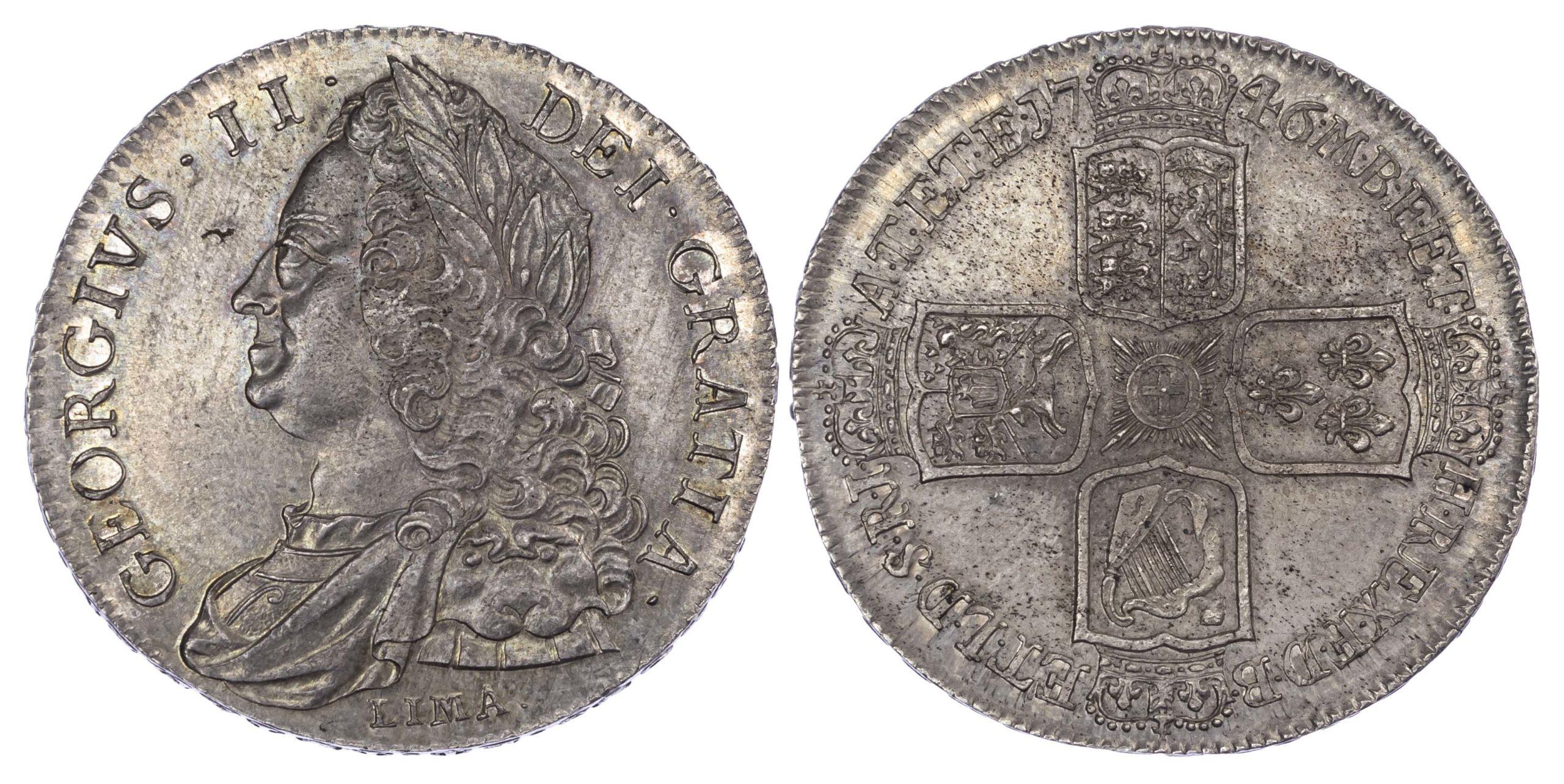 George II (1727-60), Crown, 1746, 'Lima' type